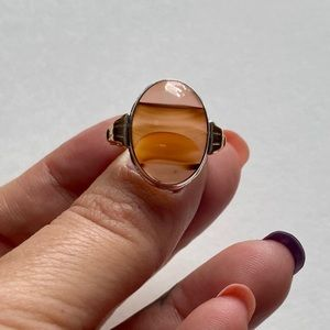 Vintage Sterling and Gold Filled Agate ring